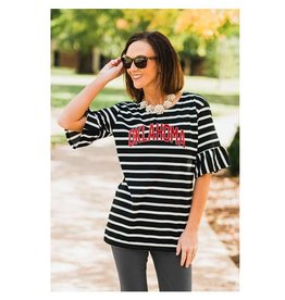 Gameday Couture Women's Saved by the Bell Oklahoma Sooners Ruffle Sleeve Top