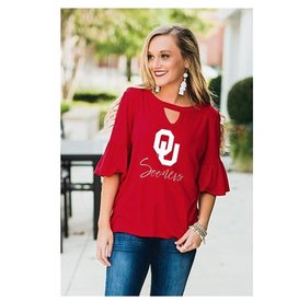 b5736cf9b Gameday Couture Women's Ruffle and Ready Keyhole Oklahoma Sooners Top