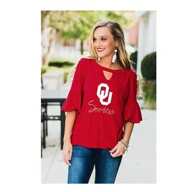 Gameday Couture Women's Ruffle and Ready Keyhole Oklahoma Sooners Top