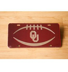 Craftique Craftique OU Football Icon Silver/Crimson Mirrored License Plate