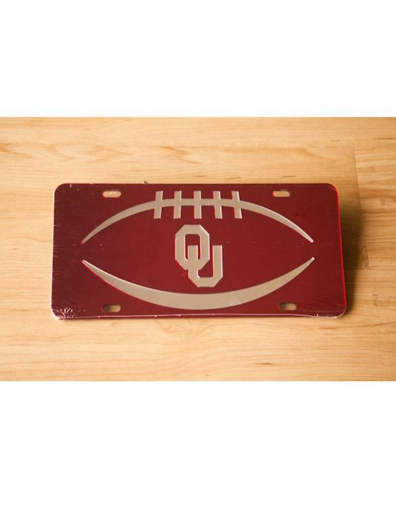 Craftique Craftique OU Football Icon Silver/Crimson Mirrored License Plate