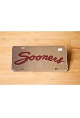 Craftique Craftique Sooners Script Crimson/Silver Mirrored License Plate