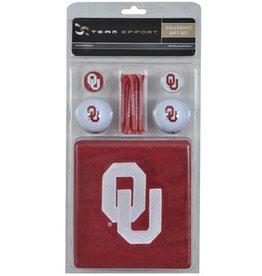 Team Effort OU Golf Gift Set (Towel, 2 Balls, 2 Ball Markers, 8 Tees)