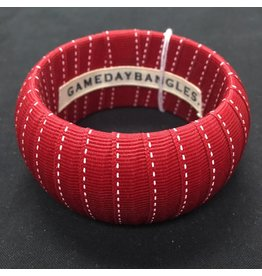 Crimson Fabric Ribbon Wrapped Wide Bangle