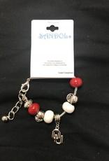 Sandol Sandol OU Football Beaded Charm Bracelet