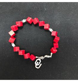 Dayna U Sterling Silver OU Crimson Block Charm Bracelet