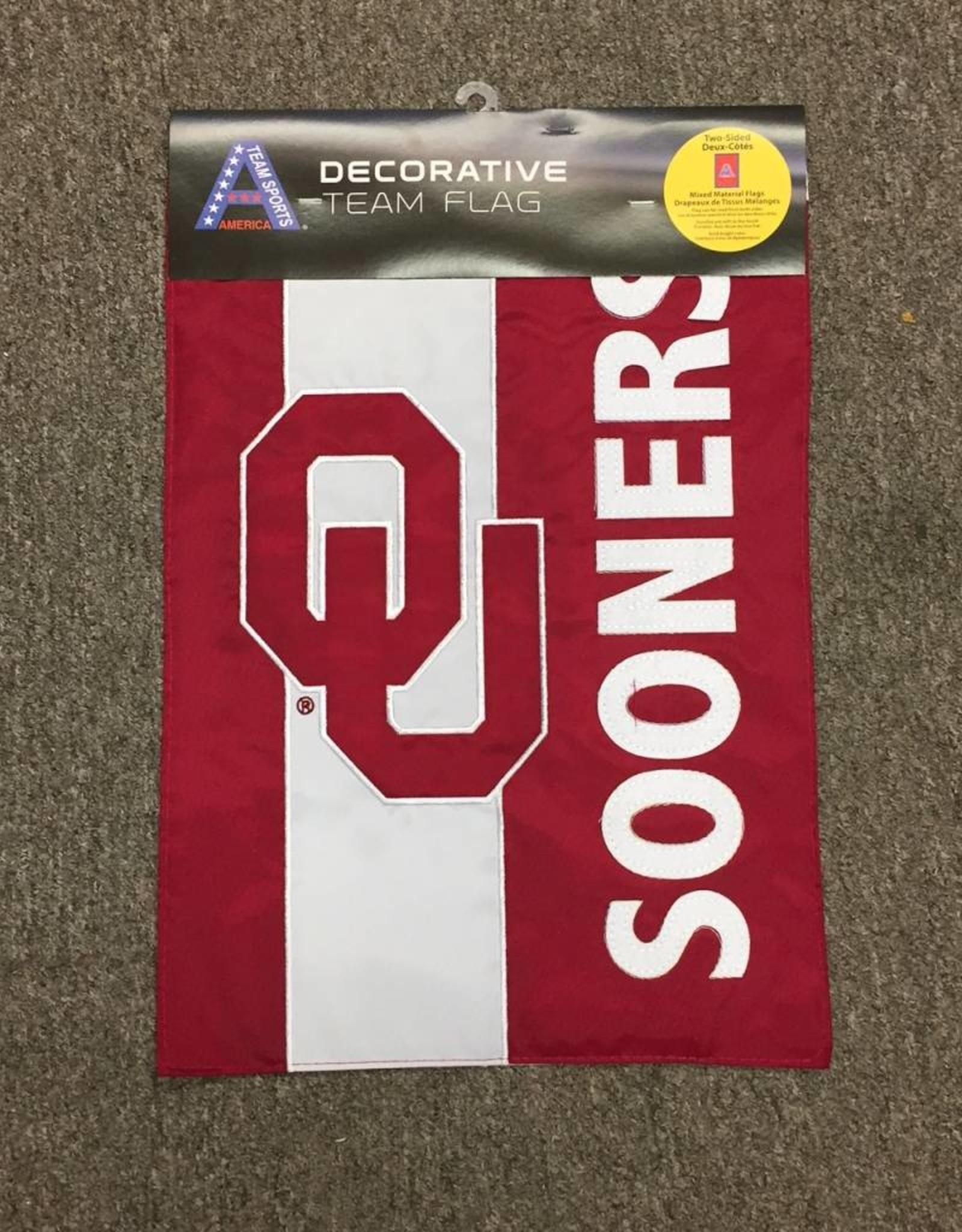 "Team Sports America OU Sooners Applique 2-Sided Garden Flag 13""x18"""