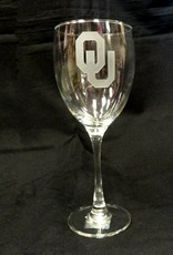 Campus Crystal OU Etched Wine Glass 12oz