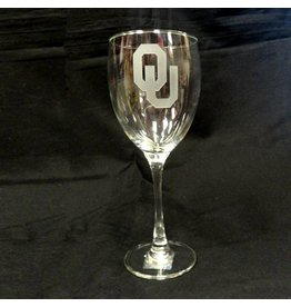Campus Crystal OU Etched Wine Glass 19oz