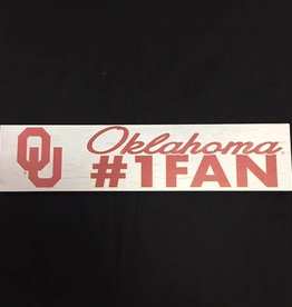 "KH Sports Fan Weathered 3""x13"" Wooden OU Oklahoma #1 Fan Plaque"