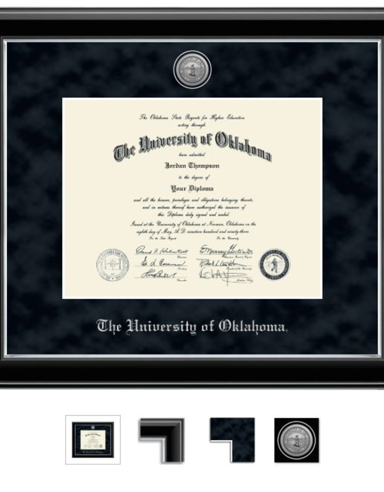 Church Hill Church Hill Engraved Onyx Silver Diploma Frame Ph.D