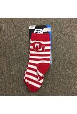 FBF FBF OU Crimson/White Striped Children's Sock Size 8-13