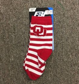 FBF FBF OU Crimson/White Striped Toddler Sock Size 3-8