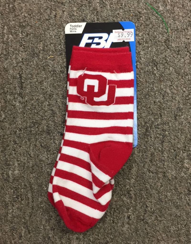 FBF FBF OU Crimson/White Striped Toddler Sock Size 3-8