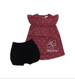 Little King Infant Little King Heather Crimson Pin Dot Dress & Black Bloomer with Butterfly Design