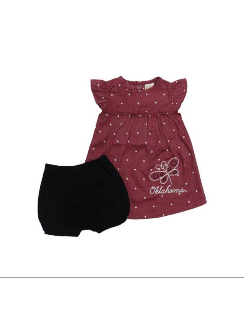 Little King Infant Little King Heather Crimson Pin Dot Dress & Black Bloomer with Butterfly Design