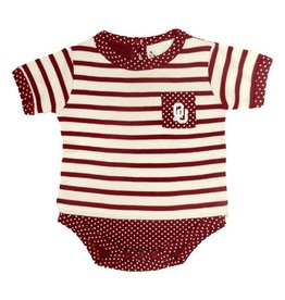 Two Feet Ahead Infant Two Feet Ahead Stripe & Pin Dot Layered Creeper Crimson & White