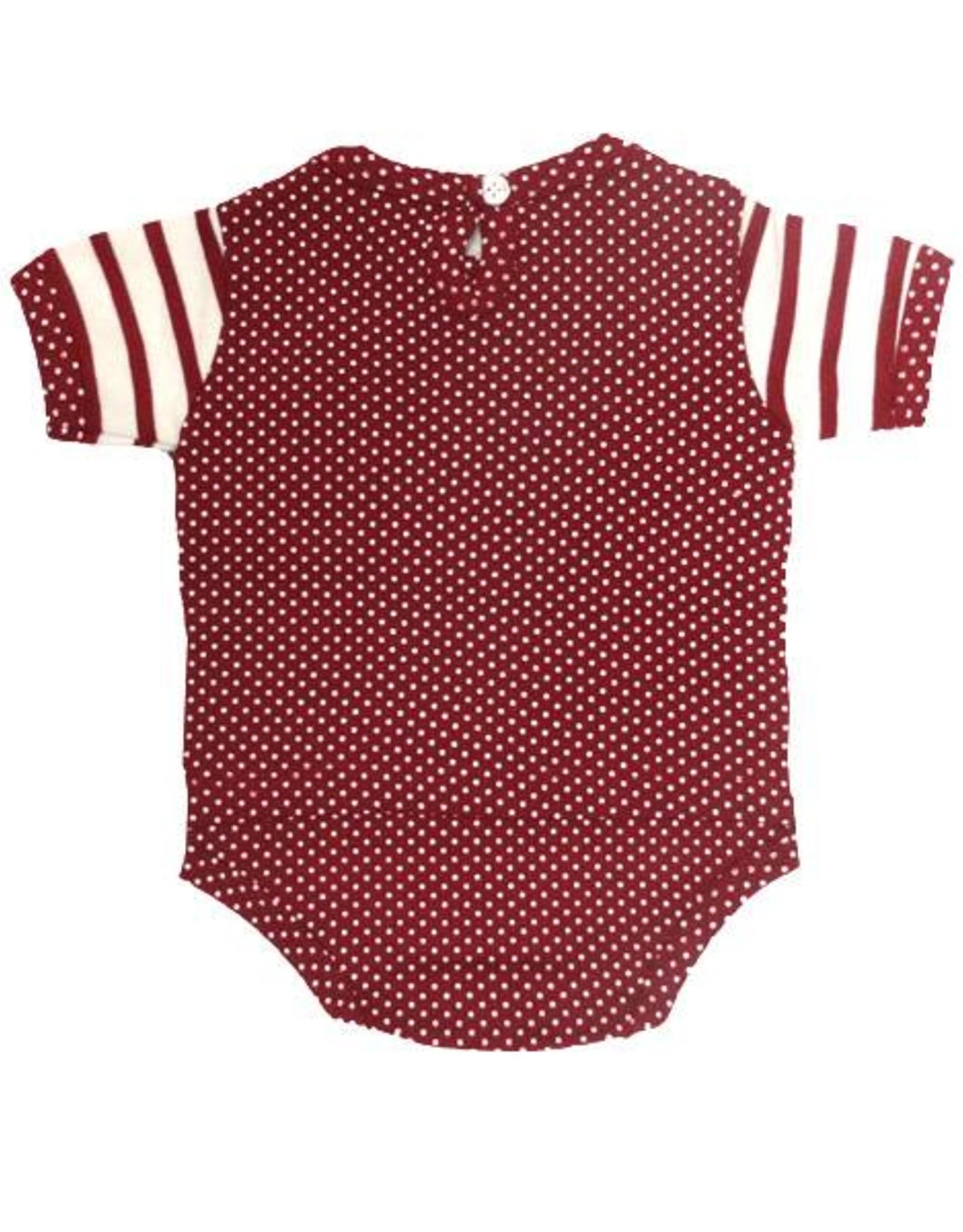 Two Feet Ahead Infant Two Feet Ahead Stripe & Pin Dot Layered Creeper Crimson & White