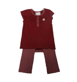 Two Feet Ahead Toddler Two Feet Ahead 3 Button Top & Legging Set Crimson Pin Dot Accents