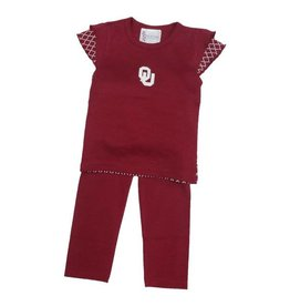 Two Feet Ahead Toddler Two Feet Ahead Top/Pant Set Crimson with Quatrefoil Accents
