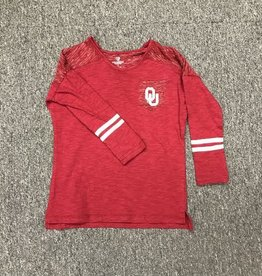 Colosseum Youth Colosseum Crimson LS Pocket Tee with Stripes on Sleeve