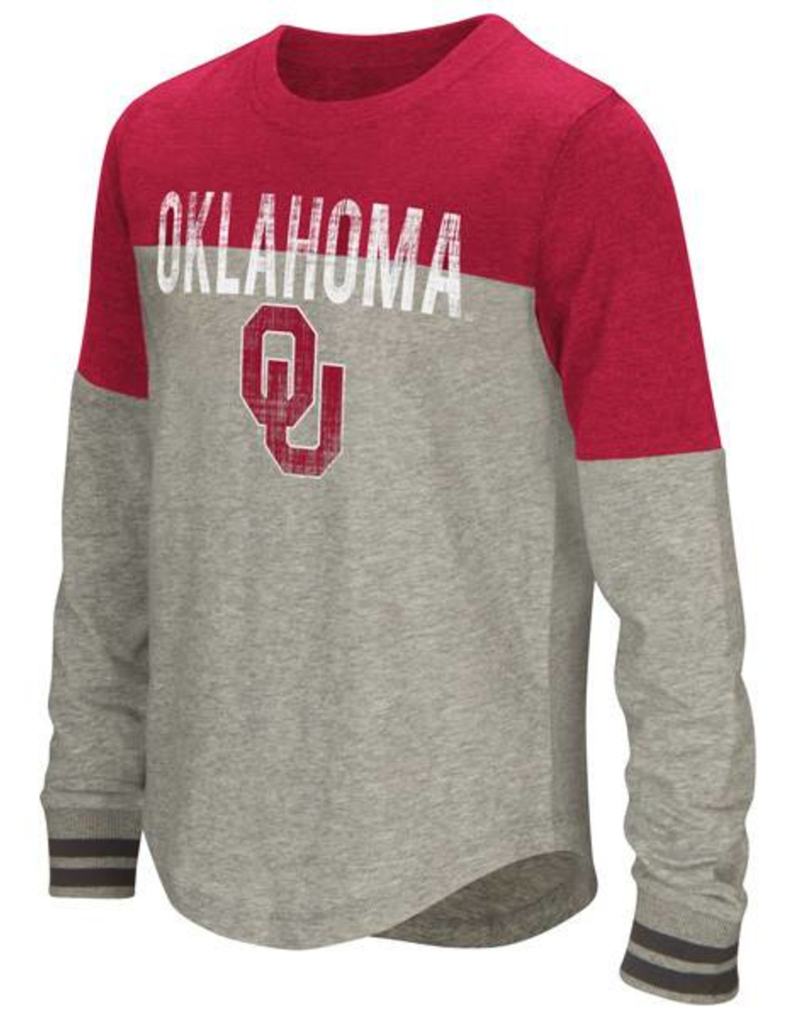 Colosseum Youth Colosseum Jersey Long Sleeve Tee Grey & Crimson with Ribbed Cuffs