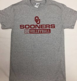 Gildan Basic Cotton Tee Oklahoma Volleyball Athletic Grey