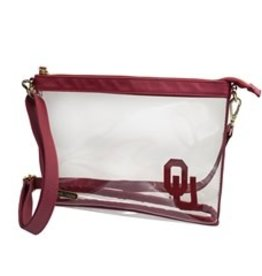 "Capri Designs OU Fashion Clear Large Crossbody 10""x7.25""x2.375"""