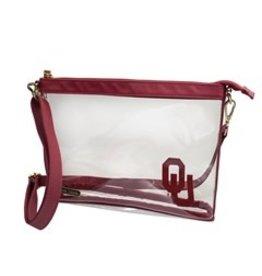 "Capri Designs OU Fashion Clear Large Crossbody 10""x7.25""x2.375"""