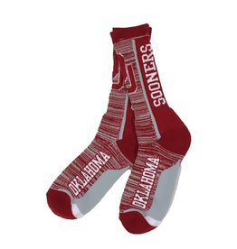 FBF FBF OU Sooners Bar Stripe Vert Crew Sock-Lg Mens 9-12