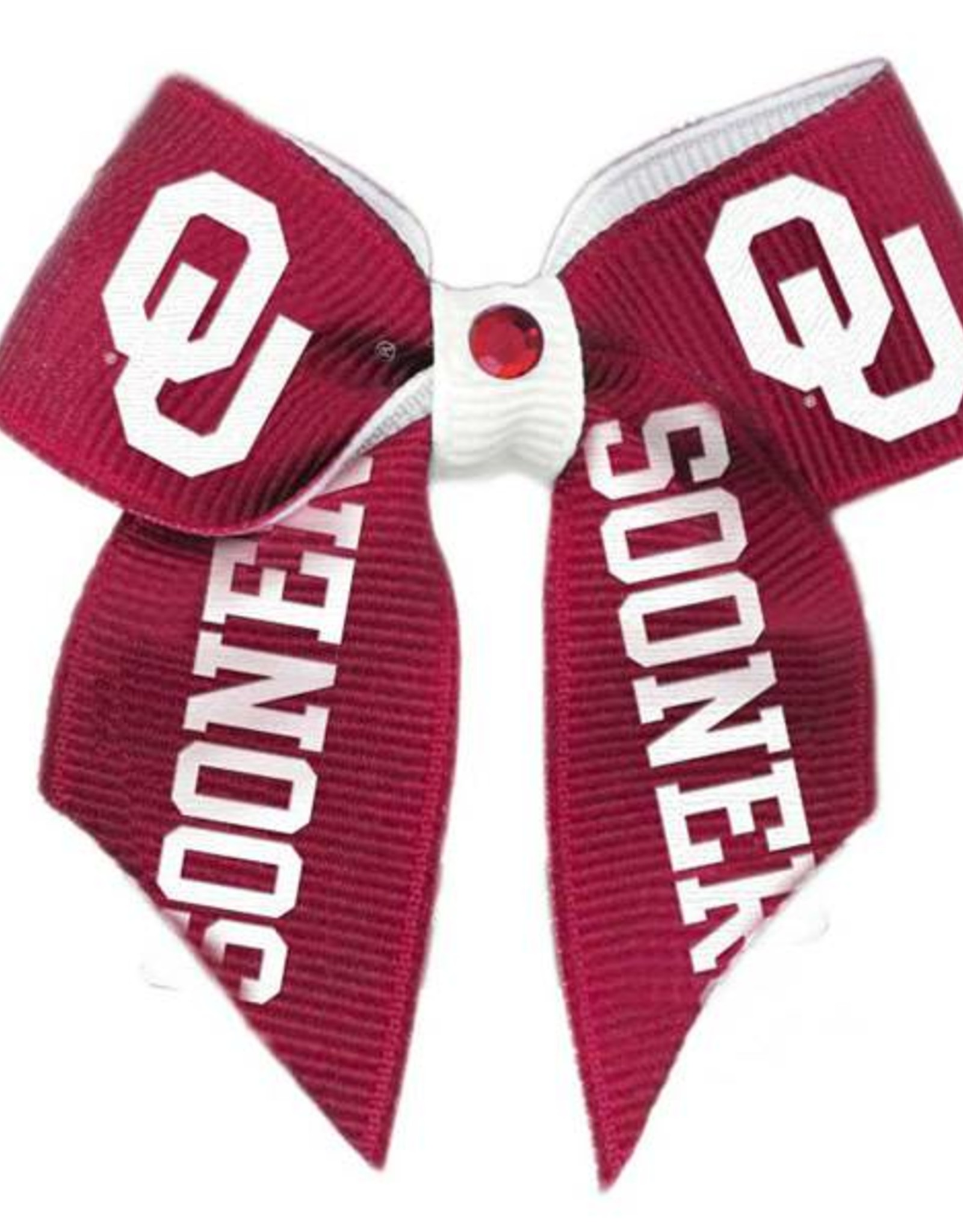 All Star Dogs Sooners Ribbon Dog Bow with Crimson Crystal