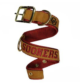 Zep-Pro Zep Pro Leather and Nylon Sooners Dog Collar