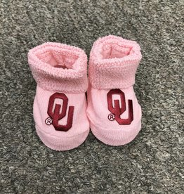 Two Feet Ahead Newborn Pink With Crimson OU Booties