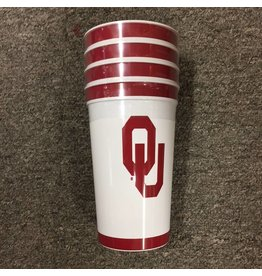 The Waddington Group 22oz White Plastic OU Stadium Cup 4pk