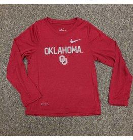 Nike Children's Nike Dri-Fit Long Sleeve Oklahoma OU Tee