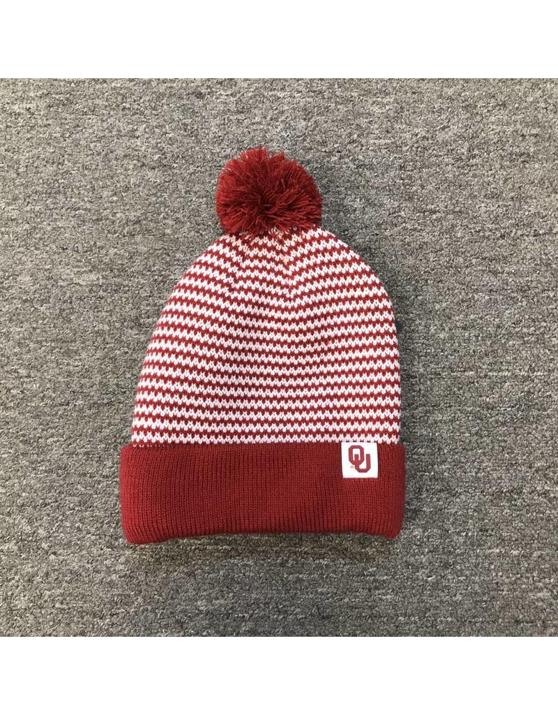 Nike Nike Crimson/ White Knit Pattern Beanie with Removable Pom