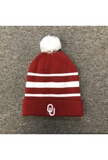Nike Nike Crimson White Stripe Beanie with Removable Pom