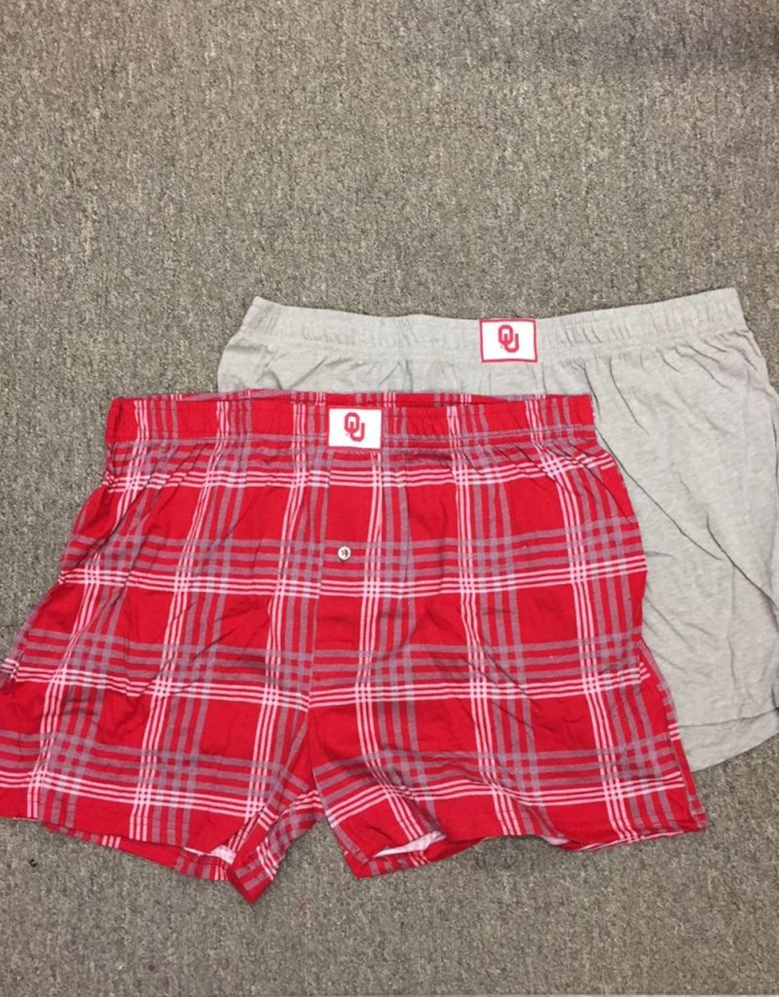 Concepts Sports Men's OU Boxer 2 Pack (Plaid & Solid Grey)
