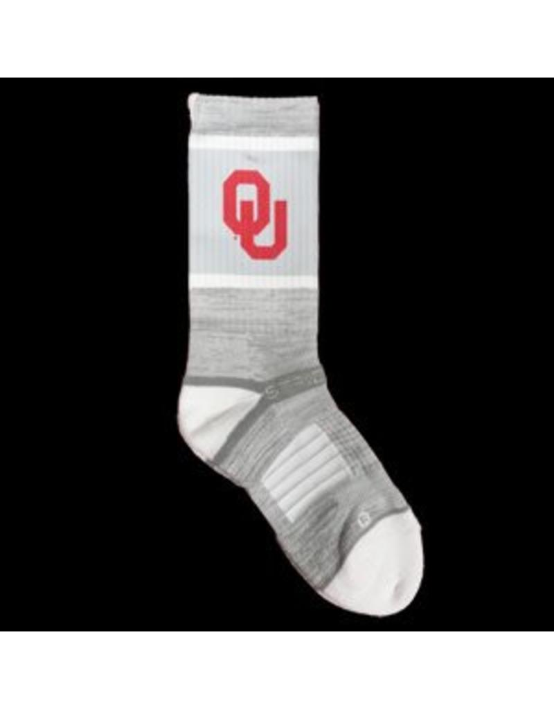 Strideline Men's OU Strideline Grey & White Sock