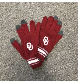 '47 Brand '47 Brand OU Crimson Knit Gloves with Silver Stripes