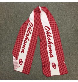 Emerson Street OU Oklahoma Script Knit 2-Tone Scarf Crimson & White