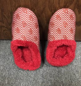 Comfy Feet Women's OU Crimson & White Chevron Pattern Furry Slippers