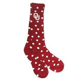 Mojo Women's OU Crimson & Grey Polka Dot Sock