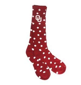 Mojo Women's OU Crimson & Grey Polka Dot Sock