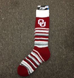 FBF Women's OU Crimson/White/Grey Stripe Sock One Size Fits Most