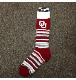 FBF Women's OU Crimson/White/Grey Stripe Sock One Size Fits Most