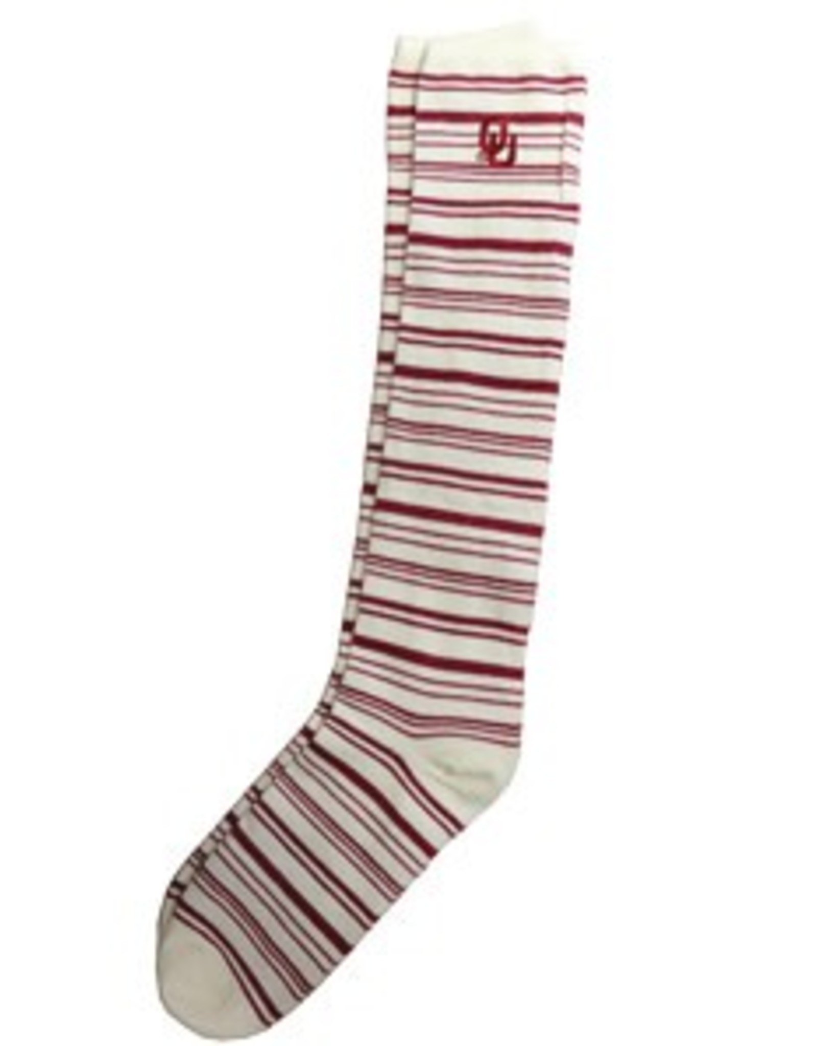 Two Feet Ahead Women's OU Knee High Crimson & White Stripe Sock