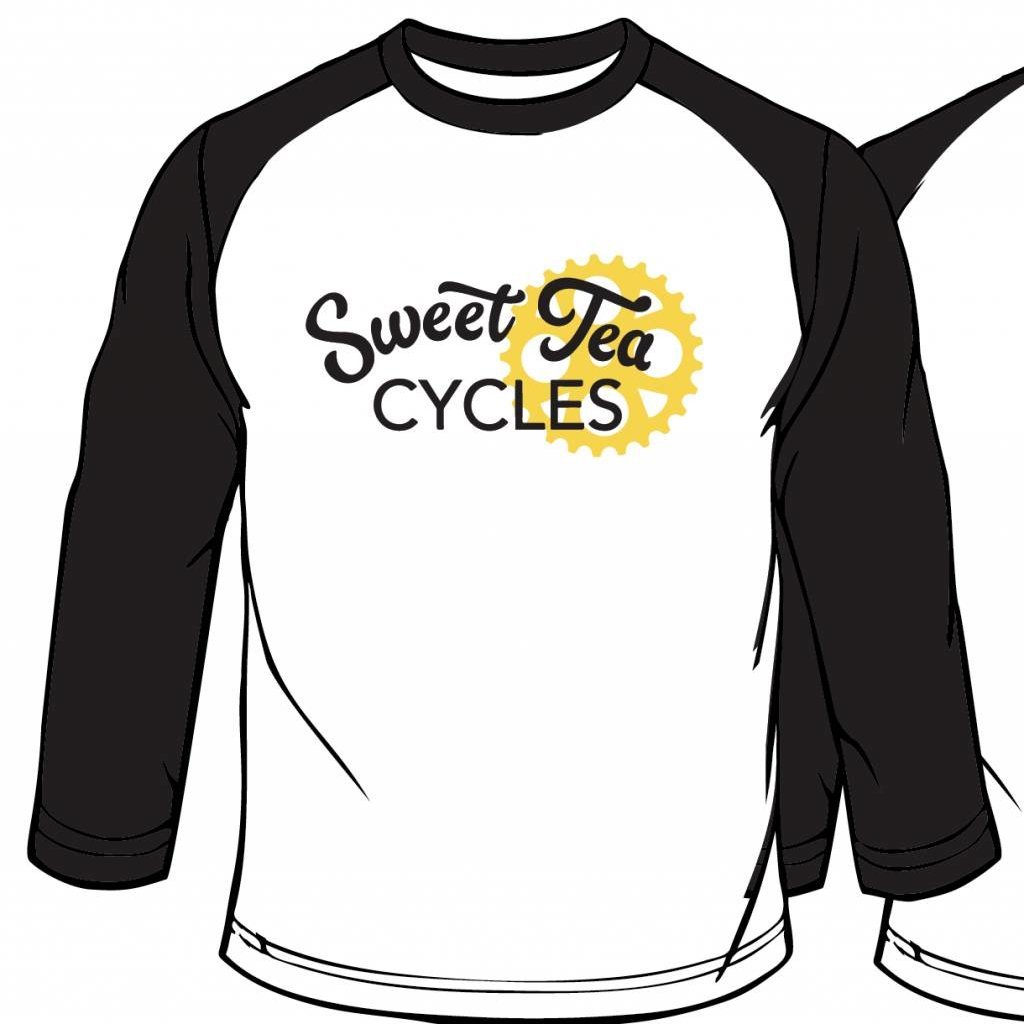Sweet Tea Cycles - (White/Black) TriBlend Baseball T