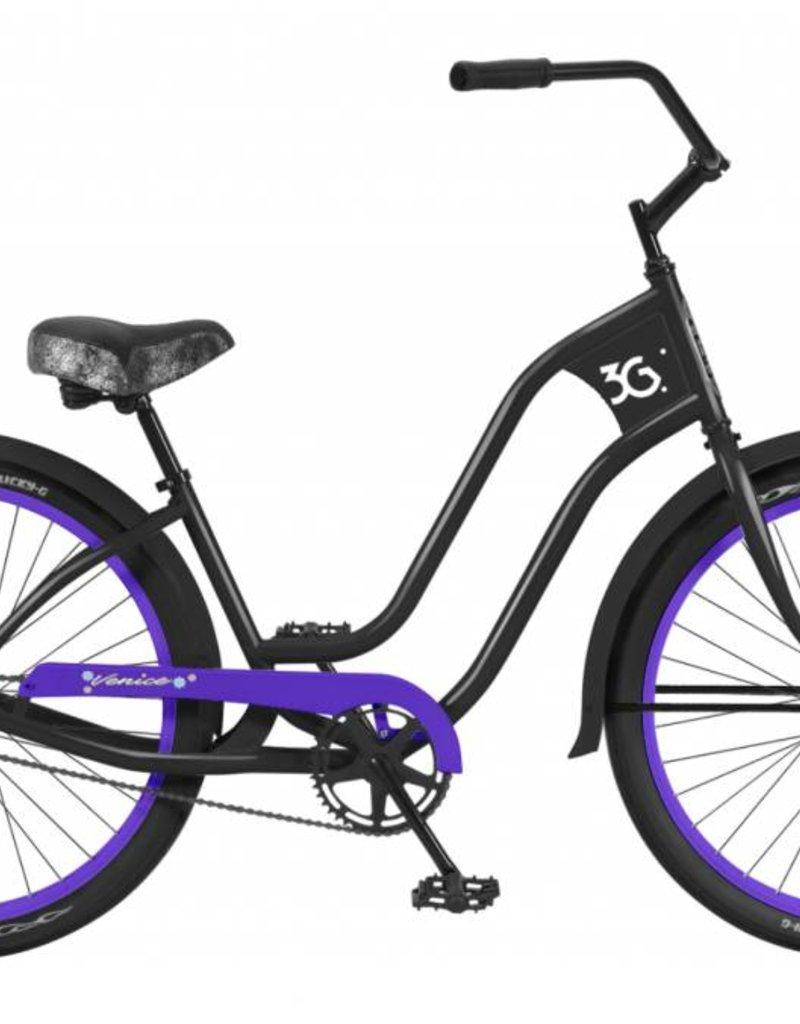 3G 3G bike newport 3 lady matte black w/ purple rims