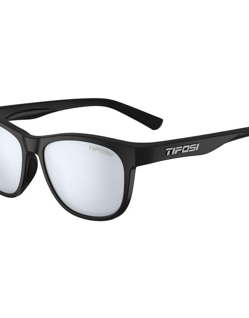 Swank, Satin Black Single Lens Sunglasses - Smoke Bright Blue